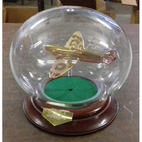317 - Approx. 14 cm tall Northumbrian glass gilt and Crystal model Spitfire in glass display bubble...