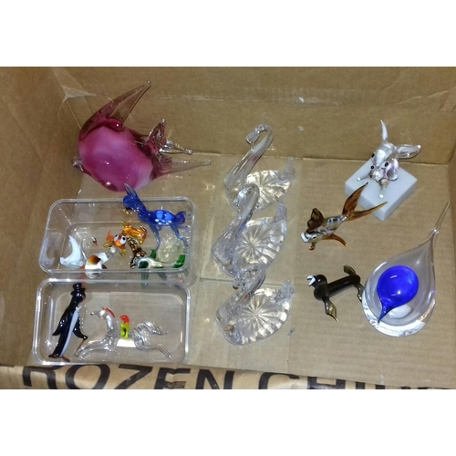196 - Box of assorted art glass animal figures...