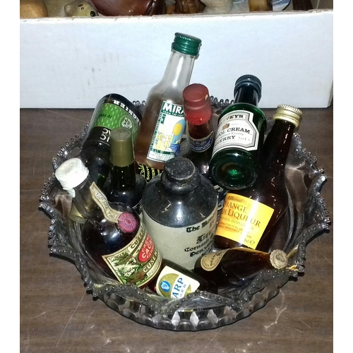 84 - Vintage cut glass bowl with assorted alcoholic miniatures...