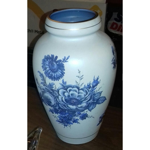 23 - 29 cm tall 1930's Flora Holland blue rose patterned ceramic vase...