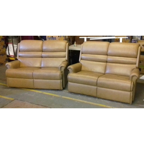 439 - Power of Sherborne leather 2 seater couches...