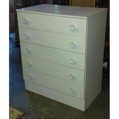 438 - 77 x 47 x 92 cm tall white 5 drawer chest...
