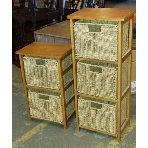 448 - 34 x 24 cm light wood with wicker drawer 3 and 2 compartment stands...