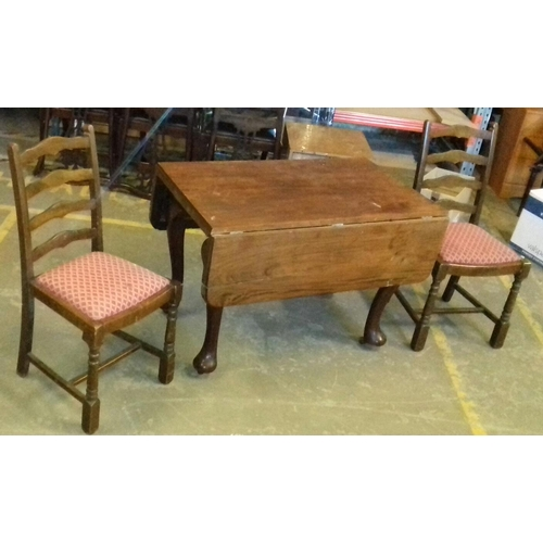 422 - 105 cm wide Victorian drop leaf farmhouse table on wheels with 2 x ladder back chairs...