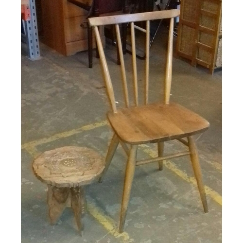 433 - Stick back chair and inlaid carved wine table...
