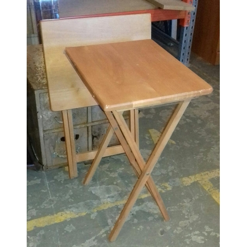 483A - Pair of light wood look folding occasional tables...