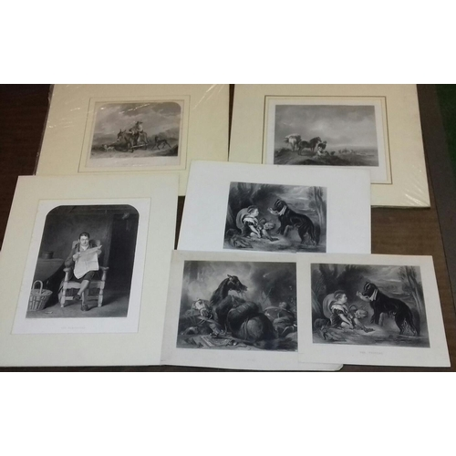 90 - Small bundle of vintage engraved prints including 3 x mounted approx. 40 x 34 cm...