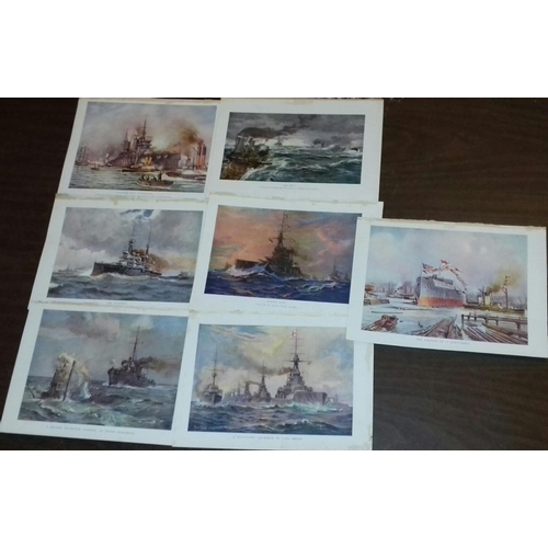123 - Bundle of 7 x first edition 1917 coloured plates, battleships over 100 years old from The Wonder boo...