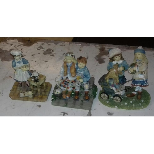 111 - 3 x Christine Haworth Leonardo Collection figures being baking day, first love and the old pram...