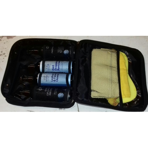 383 - Hyundai car cleaning set in canvas case...