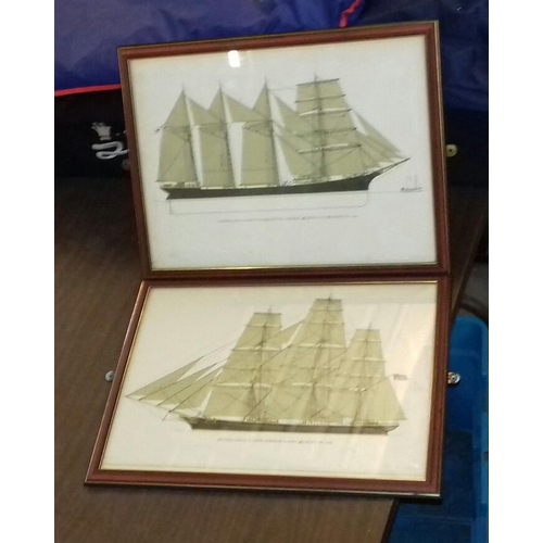 127 - Pair of 44 x 34 cm wooden framed Victorian boat pictures...