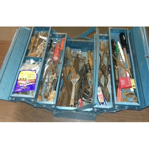 330 - Blue metal cantilever tool box and contents...