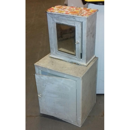 403 - 39 x 31 x 46 cm vintage metal cabinet and 33 x 17 x 36 cm vintage metal wall mount mirrored cabinet...