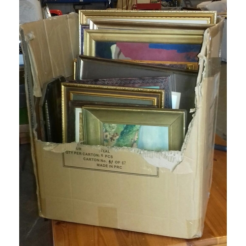 133 - Box of various assorted framed pictures and paintings...
