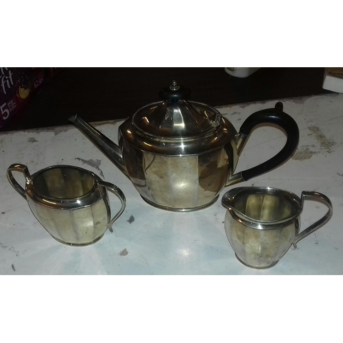 49 - J B Chatterley and Sons Ltd Birmingham hand soldered silver plated 3 piece tea service...