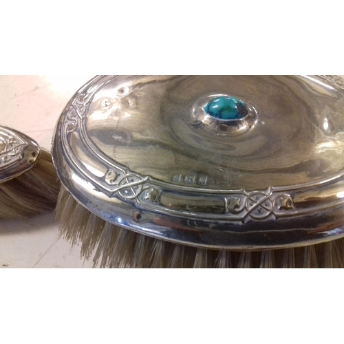 582 - H&H Birmingham hallmarked silver with turquoise inset stone 2 x brush and comb set...