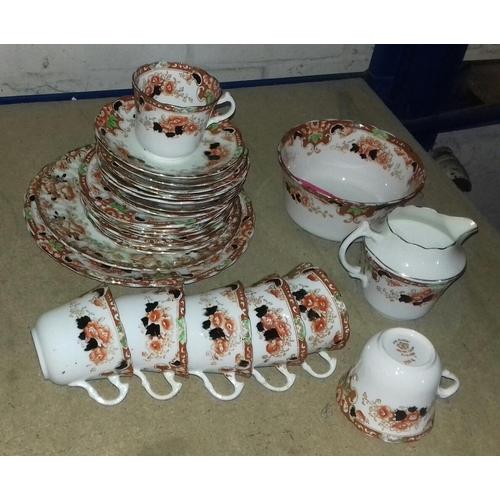 86 - Royal Albert crown china set of 7 x trios, 2 x sandwich plates, sugar bowl and creamer with extra sa...