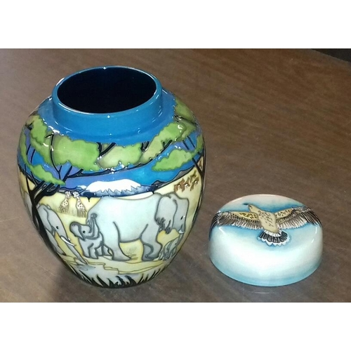 61 - 19 cm tall large Moorcroft 'TREETOPS' lidded ginger jar with elephant design...