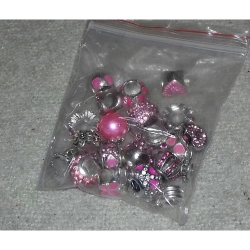 544 - Bag containing 19 x Pandora style 925 stamped charms...