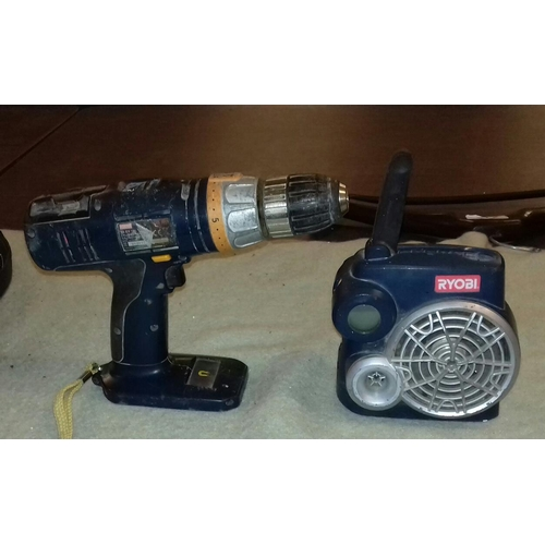 380 - Ryobi 18 V radio and drill, no battery or charger but guaranteed working order...