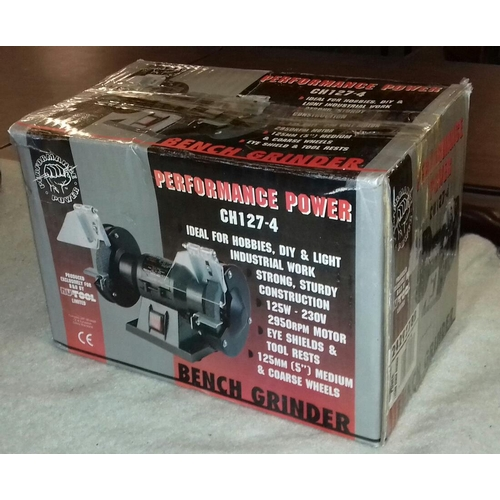 157 - Boxed as new Performance Power bench grinder...