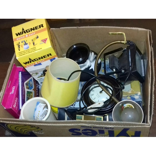 312 - Box of assorted miscellaneous including ships wheel mantle clock etc....