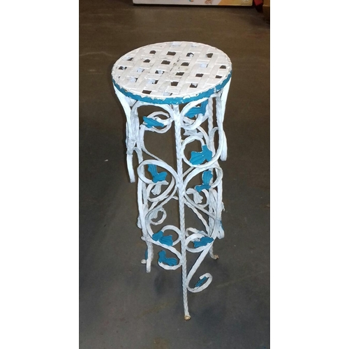 510 - 63 cm tall painted wrought iron plant stand with lattice work top...