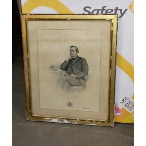 334 - 67 x 55 cm framed 1870 portrait...