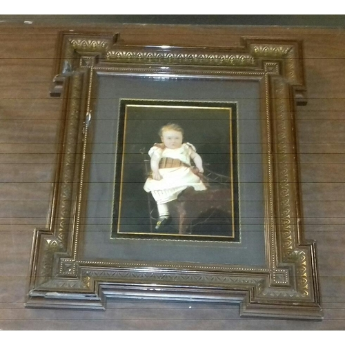 346 - 43 x 38 cm Victorian picture frame with small child picture...