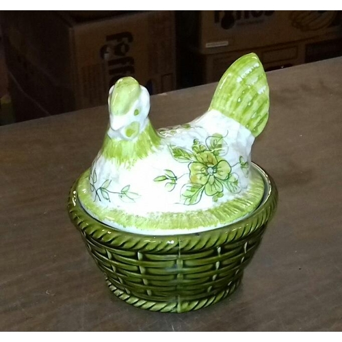 43 - Approx. 14 cm tall retro Portuguese ceramic chicken shaped egg holder...
