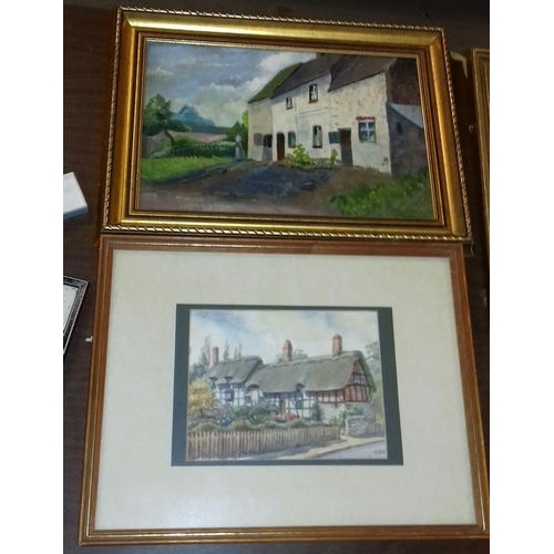 461 - 47 x 36 cm watercolour painting of Anne Hathaway's cottage initialled JDB and other 50 x 37 cm oil o...
