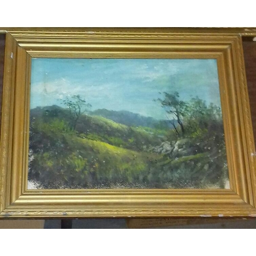 492 - 61 x 45 cm oil on board landscape painting signed G.E. Richards and other 44 x 34 cm landscape paint...