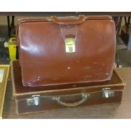 222 - Cheney leather briefcase and other vintage leather suitcase...