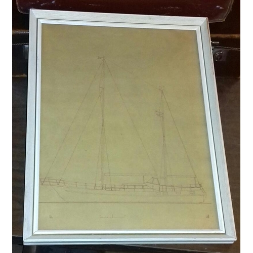14 - 44 x 34 cm technical scale plan drawing of a racing boat...