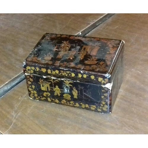 83 - 15 x 11 x 9 cm oriental lacquered trinket box...