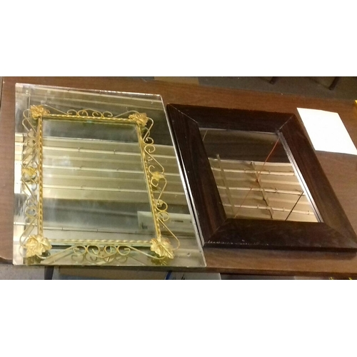 347 - Bundle of 3 x mirrors being 67 x 48 cm frameless, wrought iron framed and other thick wooden Framed...