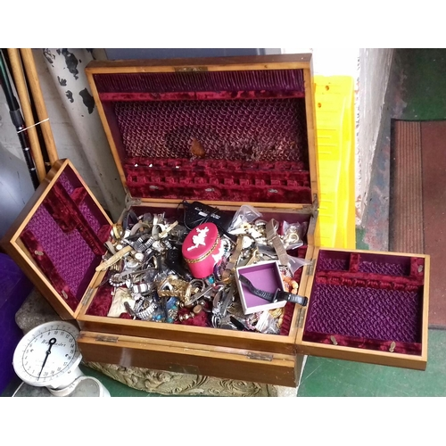 382 - Nice wooden cutlery case with large amount of assorted fashion and costume jewellery and watches etc...