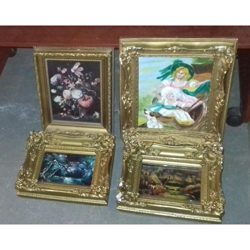 473 - 3 x gilt painted plaster framed oil paintings and 1 x other gilt framed picture, largest being 35 x ...