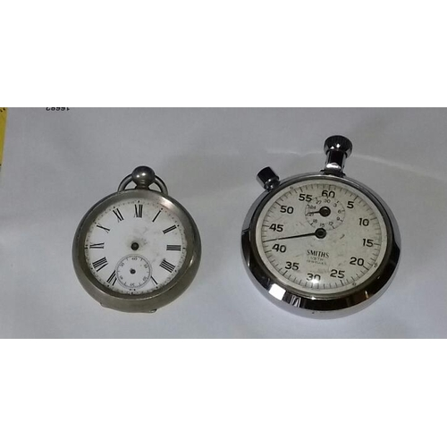 529 - 2 x pocket watches being Argentan with no hands and Smith's stopwatch with loose hand, for spare/rep...