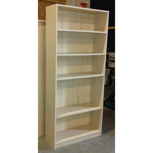 458 - 30 x 181 cm tall light wood look 4 shelf bookcase...