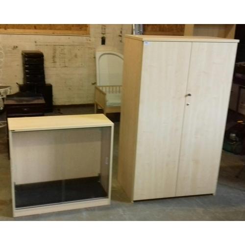 464 - 96 x 55 x 156 cm office double door cupboard (locked with no key) and 95 x 35 x 87 cm glass door off...