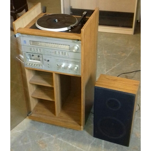 482 - Fidelity music centre in distressed cabinet with single speaker in working order...