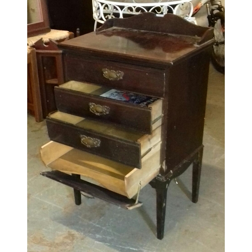 520 - 51 x 37 x 84 cm dark wood, 4 drawer, sheet music cabinet...
