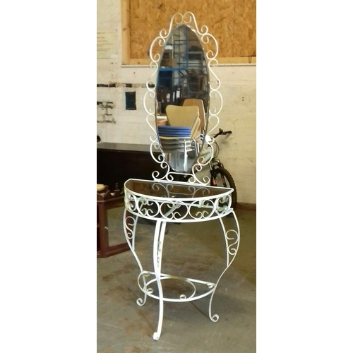 417 - 168 cm tall wrought iron mirrored hall stand with tempered glass top...