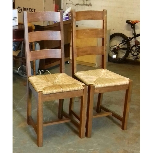 392 - Pair of ladder back dining chairs with woven seats...