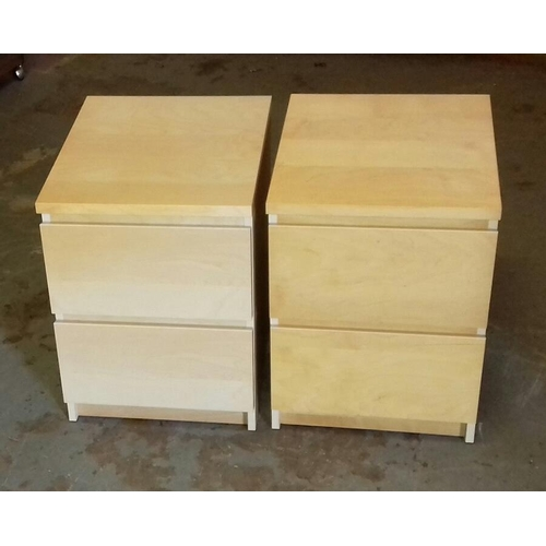 475 - Pair of 40 x 48 x 55 cm light wood look two drawer bedside cabinets...