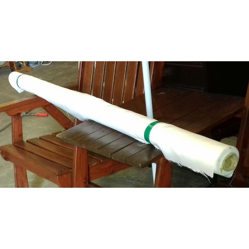 187 - Large roll of white silk like material approx. 155 cm wide...