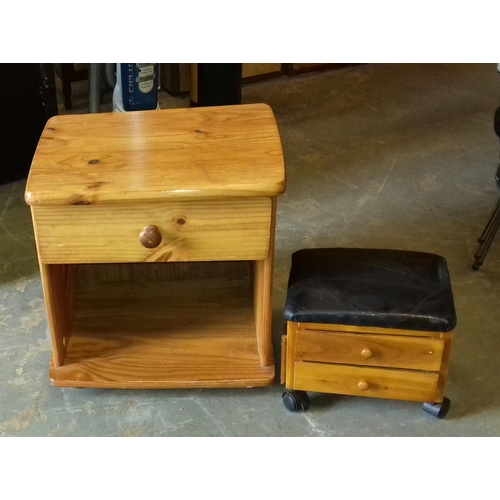 491 - 51 x 43 x 52 cm pine single drawer bedside cabinet & faux leather topped 2 drawer stool on casters...