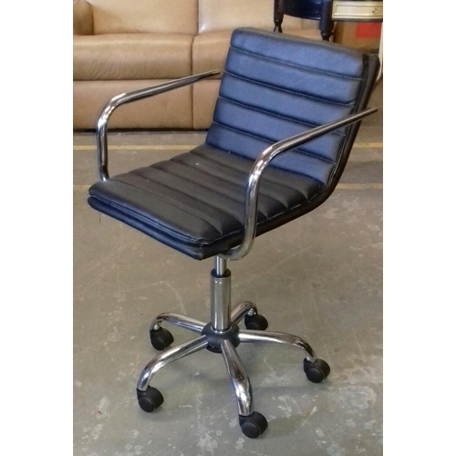 481 - Black faux leather and chrome office chair...