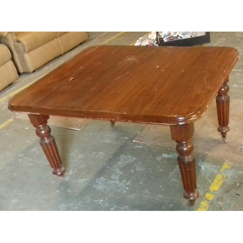 427 - 125 X 103 cm mahogany wind out dining table missing one castor...